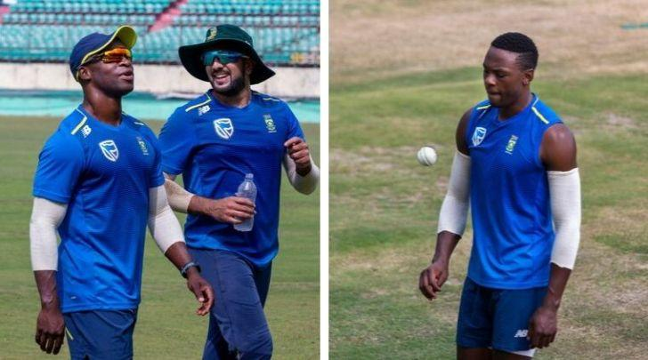 South African players during team's net sessions at Dharamsala cricket stadium. (AP)