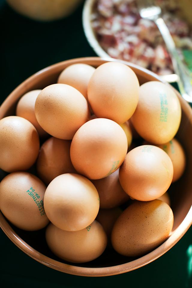 """<p>""""Eggs contain lutein and zeaxanthin, which are important for eye health,"""" Davis told POPSUGAR. But the breakfast staple also boasts the nutrient choline, the building block of neurotransmitters that <a rel=""""nofollow"""" href=""""https://ods.od.nih.gov/factsheets/Choline-HealthProfessional/"""">help support the brain and nervous system</a>. Try eating eggs hard-boiled for a protein-rich snack, or make them <a rel=""""nofollow"""" href=""""https://www.popsugar.com/food/Best-Egg-Recipes-40594022"""">the centerpiece of any meal</a>.</p>"""