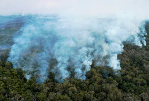 Aerial view showing large scale forest fires in Pocone, Pantanal region (the largest tropical wetlands in the world), Mato Grosso State, Brazil on Ausgust 1, 2020
