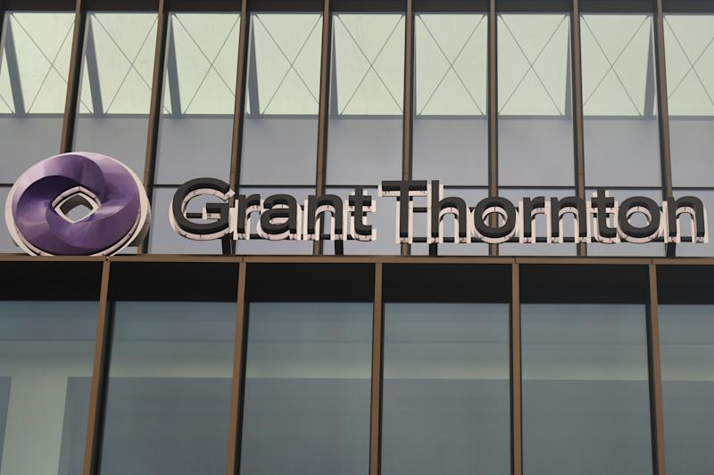 Grant Thornton logo at Grant Thornton's Headquarters in Dublin. On Thursday, November 15, 2018, in Dublin, Ireland. (Photo by Artur Widak/NurPhoto via Getty Images)