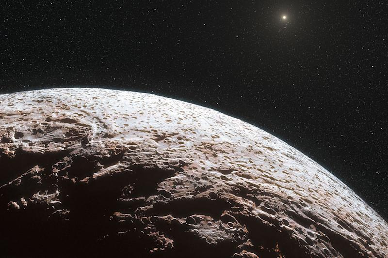 This artist impression provided by the European Southern Observatory and the journal Nature, shows the surface of the distant dwarf planet Makemake. This dwarf planet is about two thirds of the size of Pluto, and travels around the Sun in a distant path that lies beyond that of Pluto, but closer to the Sun than Eris, the most massive known dwarf planet in the Solar System. Astronomers say Pluto's icy more distant sister seems even more alien because they found it doesn't have an atmosphere. Scientists measuring the light signature from Makemake conclude that it doesn't have a global atmosphere. A study in Wednesday's journal Nature said it still may have pockets of atmosphere from methane ice turning into gas.  Makemake is one of our solar system's distant dwarf planets beyond Neptune. (AP Photo/European Southern Observatory/Nature