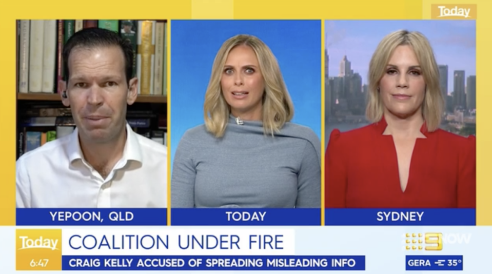 Mr Canavan and Ms Jeffreys during the heated Today Show interview. Source: Nine News