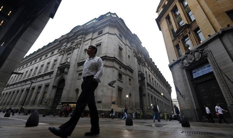 A man walks in Buenos Aires' financial district