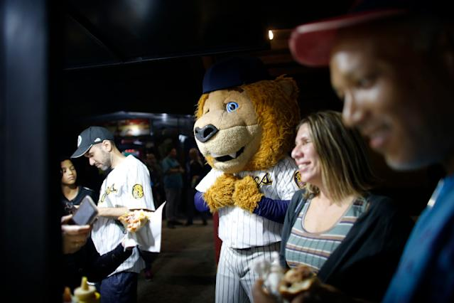 The mascot of Leones de Caracas stands with fans during the opening winter season baseball game between Leones de Caracas and Tigres de Aragua in Caracas, Venezuela, Tuesday, Nov. 5, 2019. In Venezuela, local baseball remains a passion, where for a few hours it's an oasis for people feeling overwhelmed by life. It's a safe place to drink beer, hurl insults at players and blow off steam. (AP Photo/Ariana Cubillos)