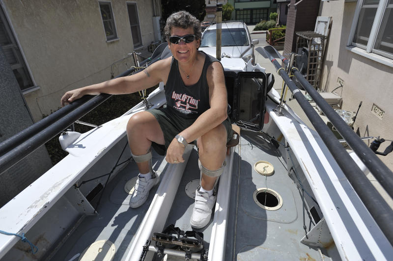 LONG BEACH, CA USA -- Angela Madsen, 50, on her ocean-crossing row boat at her home in Long Beach, CA on August 6, 2010. Madsen recently rowed around Great Britain as part of the first all-female crew to do so. Madsen is a level one paraplegic after sustaining an injury in the military. (Photo by Jeff Gritchen/Digital First Media/Orange County Register via Getty Images)