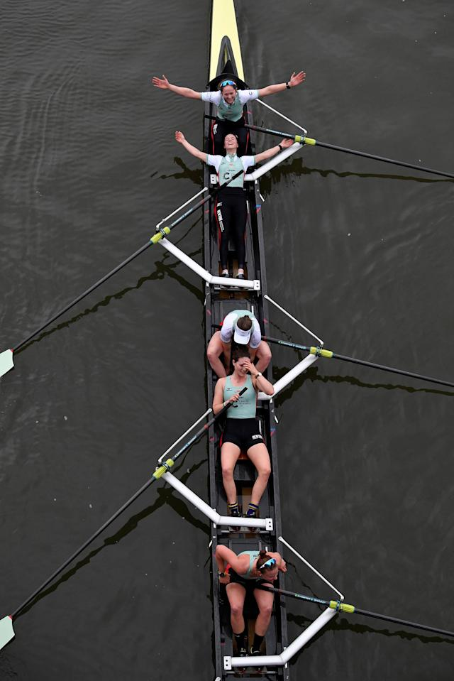 Rowing - 2018 Oxford University vs Cambridge University Boat Race - London, Britain - March 24, 2018 Cambridge celebrate winning the women's boat race REUTERS/Toby Melville