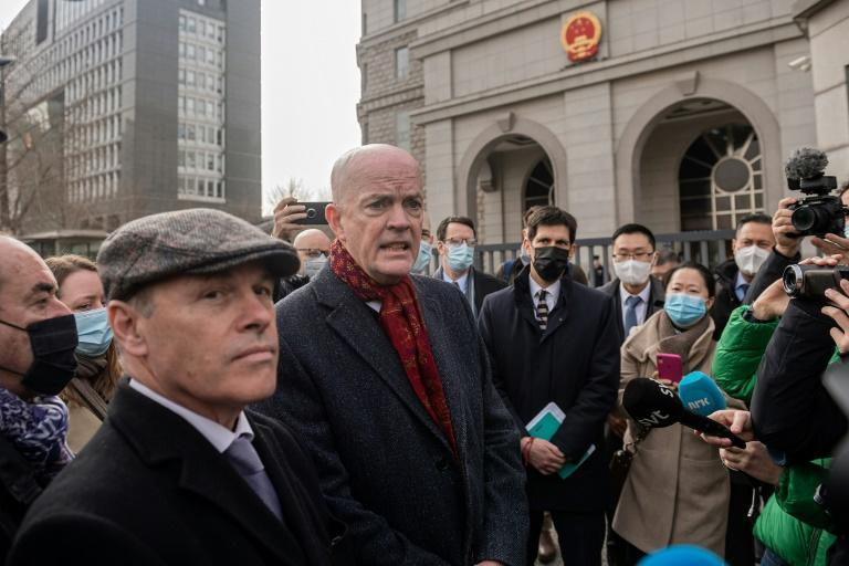 Canadian diplomat Jim Nickel (L), told reporters in Beijing that the trial had started for the second Canadian detained in China on espionage charges