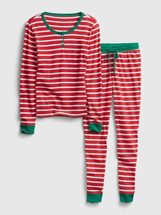 <p>I know this is a <span>Gap Stripe PJ Set</span> ($51, originally $60)! But one of my favorite henley options was from GapBody's line - it's so cool I can wear it to bed or while running errands. I love the red stripes on this, and as it's on supersale now with extra discounts, it's a great time to buy!</p>