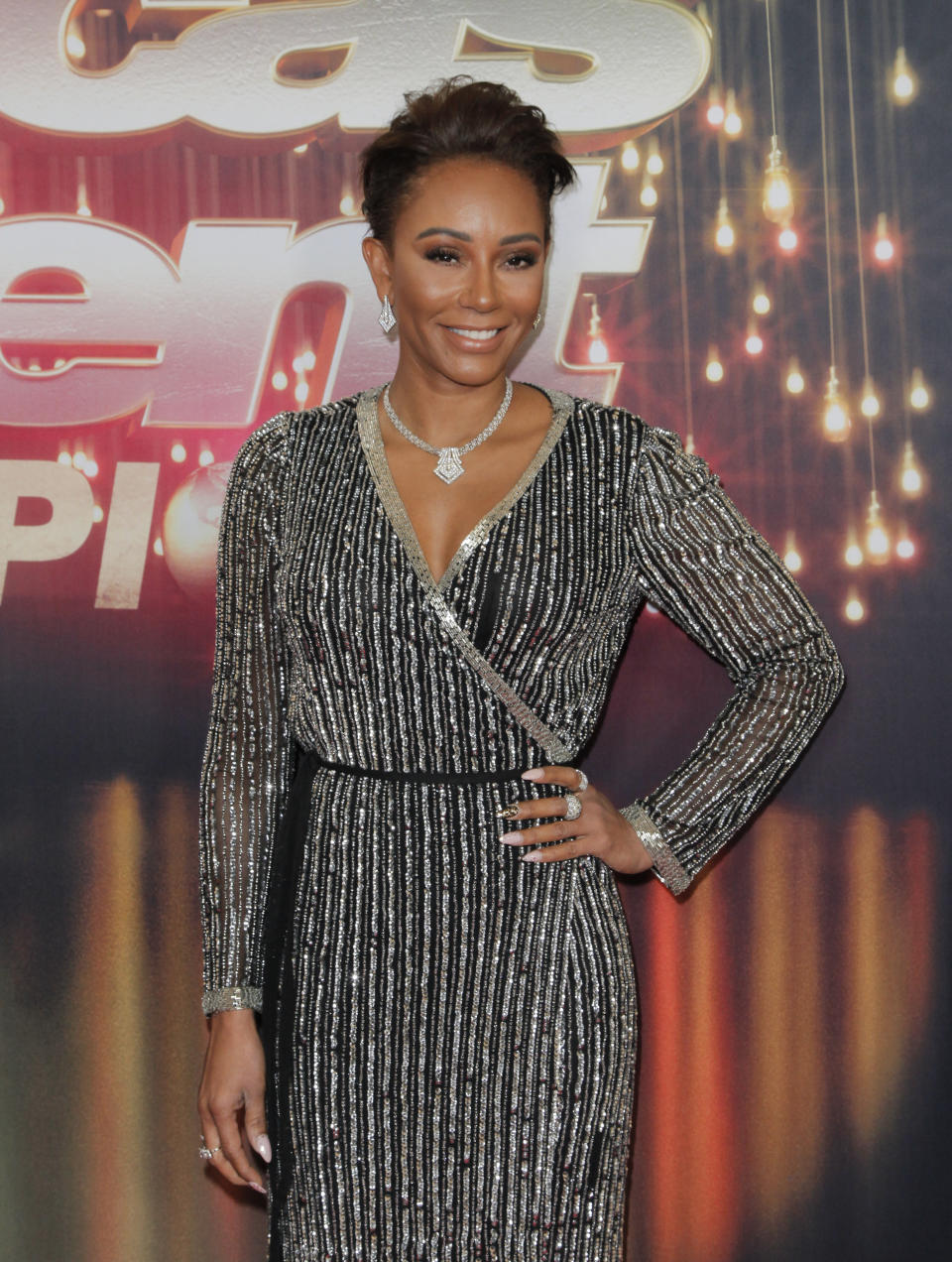 Mel B attends the 'America's Got Talent: The Champions' Finale in 2018 in a sparkly dress