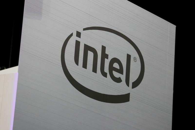 The Intel logo is shown at E3, the world's largest video game industry convention in Los Angeles