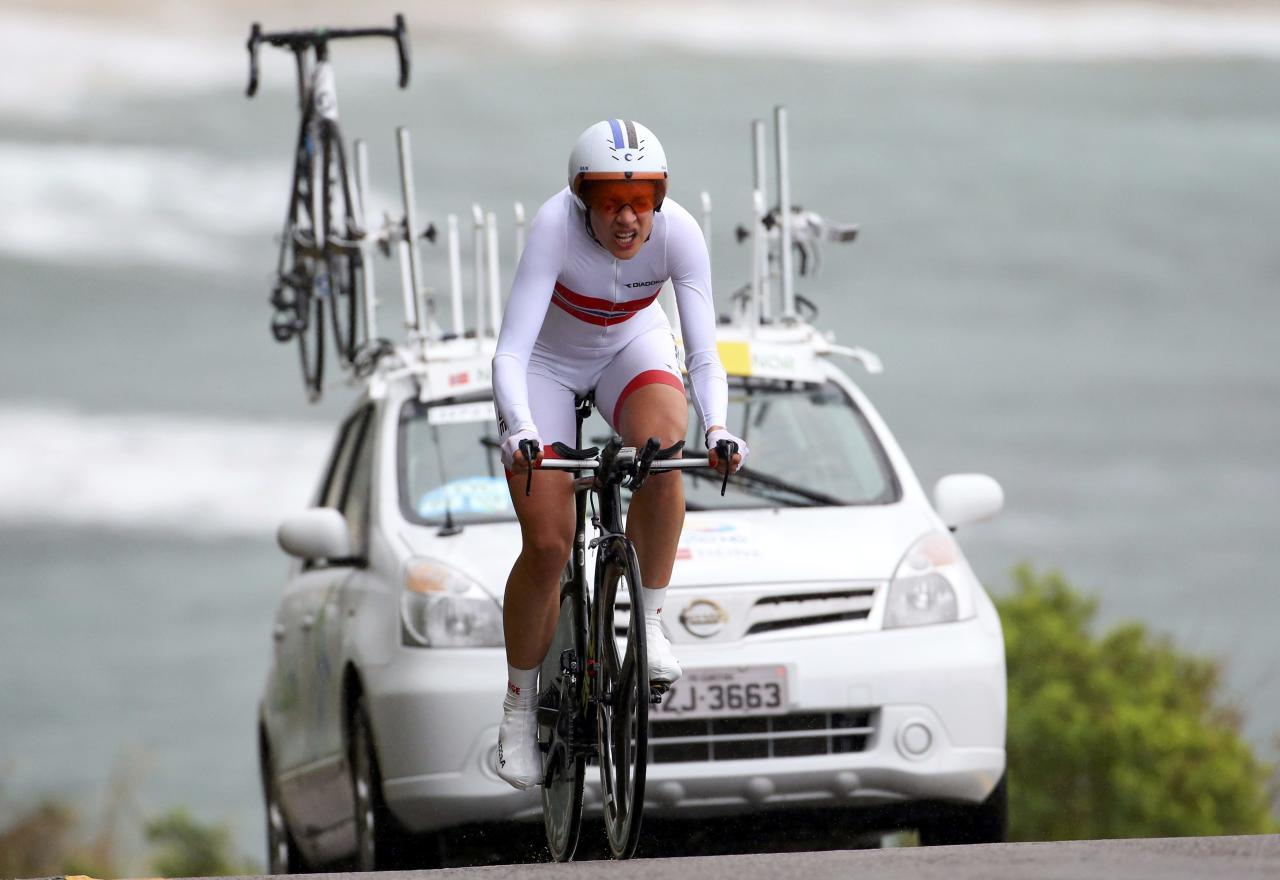 2016 Rio Olympics - Cycling Road - Final - Women's Individual Time Trial - Pontal - Rio de Janeiro, Brazil - 10/08/2016. Vita Heine (NOR) of Norway competes. REUTERS/Paul Hanna FOR EDITORIAL USE ONLY. NOT FOR SALE FOR MARKETING OR ADVERTISING CAMPAIGNS.