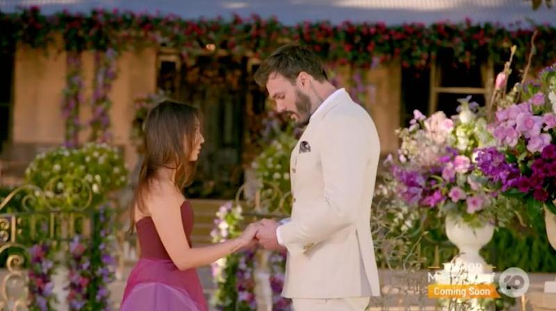 'The Bachelor Australia's Locky Gilbert rejects Bella Varelis in the grand finale (Photo: Channel 10)