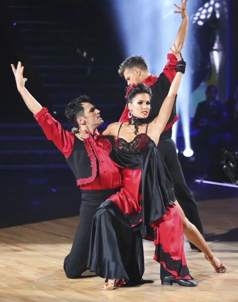 "This November 12, 2012 publicity photo released by ABC shows, from left, Tony Dovolani, Melissa Rycroft, and Henry Byalikov, during a performance on ""Dancing with the Stars: All Stars,"" in ""Episode 1508,""which included two rounds of competition for the seven remaining couples, a Ballroom and Latin Trio round, on the ABC Television Network. There's no second act for celebrities on ""Dancing With the Stars."" ABC Entertainment Chairman, Paul Lee, said Thursday, Jan. 10, 2013, that was the lesson from the past few months, when the network brought back some favorite contestants from its long-running competition series and the show fell flat. (AP Photo/ABC, Adam Taylor)"