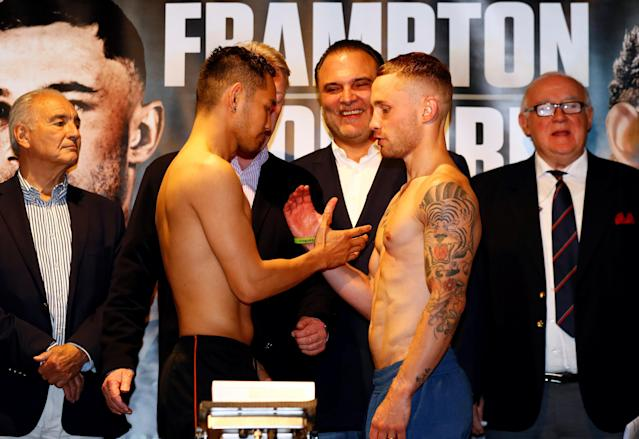 Boxing - Carl Frampton & Nonito Donaire Weigh-In - Europa Hotel, Belfast, Britain - April 20, 2018 Carl Frampton and Nonito Donaire during the weigh in Action Images via Reuters/Jason Cairnduff