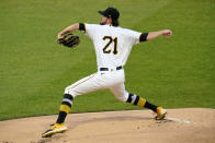 Pittsburgh Pirates starting pitcher JT Brubaker delivers during the first inning of the team's baseball game against the Chicago White Sox in Pittsburgh, Wednesday, Sept. 9, 2020. To commemorate Roberto Clemente Day, the Pirates all are wearing Clemente's No. 21. (AP Photo/Gene J. Puskar)