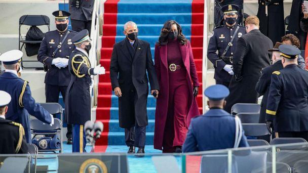 PHOTO: Former President Barack Obama and former first lady Michelle Obama at the inauguration of President-elect Joe Biden on the West Front of the U.S. Capitol on Jan. 20, 2021, in Washington. (Rob Carr/Getty Images)