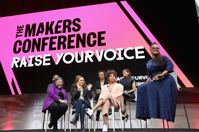Ava DuVernay invited Maha Dakhil, Melina Matsoukas, Rashida Jones, Natalie Portman, Nina Shaw, Jill Soloway, and Tina Tchen on the MAKERS Conference stage to talk about Time's Up and what's next for the movement. (Photo: Getty Images)