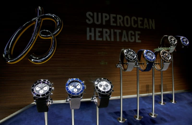 FILE PHOTO: Superocean Heritage watches of Swiss watchmaker Breitling at the Baselworld watch and jewellery fair