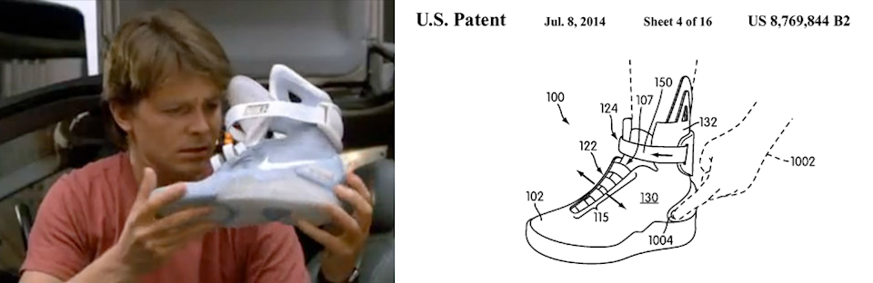 """<p>It's a throwaway sight gag in the film, but one that has had a remarkable shelf life in the public imagination: Marty tries on a pair of fictional future Nike shoes and is pleasantly surprised when the laces tie themselves. As a technological breakthrough, it's not a hoverboard or a flying car, but still — it would be kind of nice. </p><p>Well, stay tuned. Nike designers have hinted that the company is indeed working on a 2015 release of the film's Nike MAG shoes with, yes, """"Power Lace"""" technology. The company has even <a href=""""http://www.nicekicks.com/2015/01/07/nike-mag-2015-power-laces-us-patent-papers/"""" rel=""""nofollow noopener"""" target=""""_blank"""" data-ylk=""""slk:filed a patent"""" class=""""link rapid-noclick-resp"""">filed a patent</a>, evidently.</p>"""