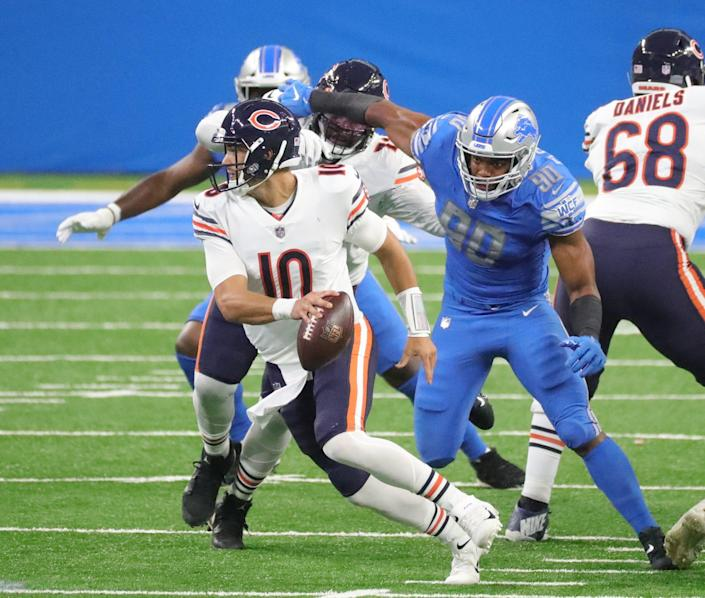 Lions defensive end Trey Flowers rushes Bears quarterback Mitchell Trubisky during the first half at Ford Field on Sunday, Sept. 13, 2020.