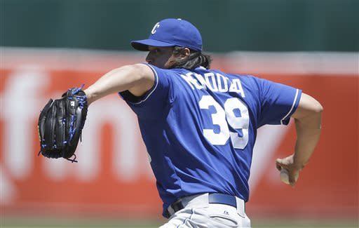 Kansas City Royals' Luis Mendoza works against the Oakland Athletics in the first inning of a baseball game on Sunday, May 19, 2013, in Oakland, Calif. (AP Photo/Ben Margot)