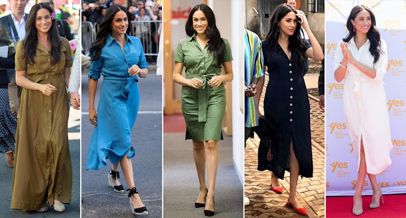 The Duchess of Sussex made a case for the versatile silhouette during her latest tour. (Photo: Getty Images; Yahoo Lifestyle)