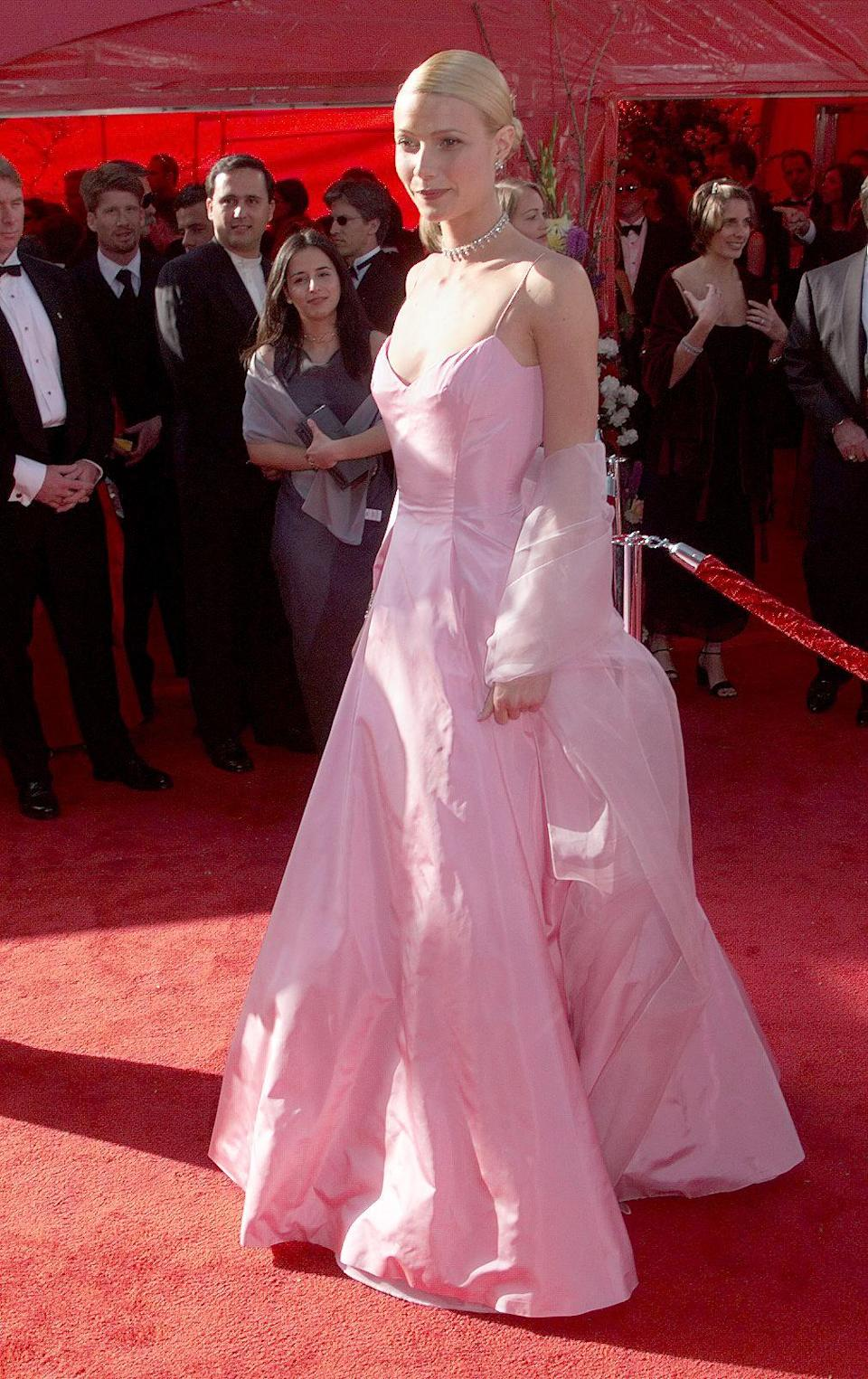 The American actress walked the red carpet in this baby pink number in 1999, to pick up her best actress Oscar for 'Shakespeare in Love'. Over 10 years later, Gwyneth revealed she had kept hold of the dress to pass on to her daughter, Apple.