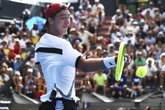 Jan-Lennard Struff from Germany returns a shot against Cameron Norries from Britain during their semifinal match of the ASB Classic Mens tennis tournament in Auckland, New Zealand, Friday, Jan 11, 2019. (AP Photo/Chris Symes)