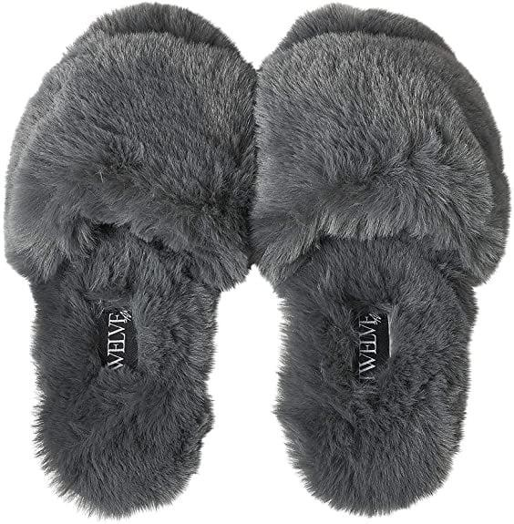 <p><span>Twelve AM Co., So Good Fluffy Slippers</span> ($48)</p>