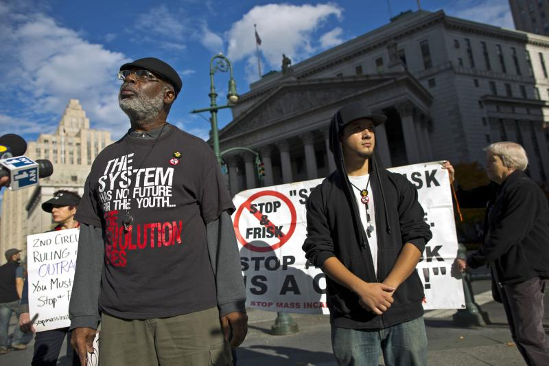Carl Dix of Brooklyn speaks at a news conference against the Stop-and-Frisk program, outside the Federal Court in New York