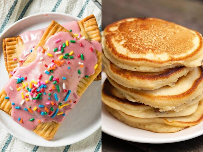 Side by side pop tart and pancake