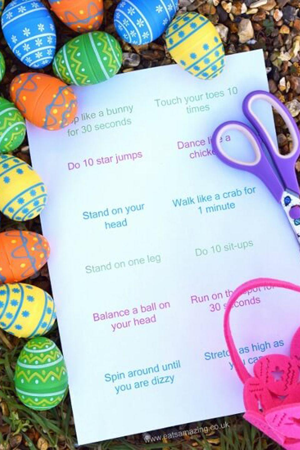 "<p>If you're looking for a healthier alternative to sugar-packed treats, use these written challenges to stuff eggs with and then let kids loose following the egg hunt.</p><p><strong>Get the tutorial at <a href=""http://www.eatsamazing.co.uk/inedible-fun/fun-energy-burning-easter-egg-hunt"" rel=""nofollow noopener"" target=""_blank"" data-ylk=""slk:Eats Amazing"" class=""link rapid-noclick-resp"">Eats Amazing</a>.</strong></p>"