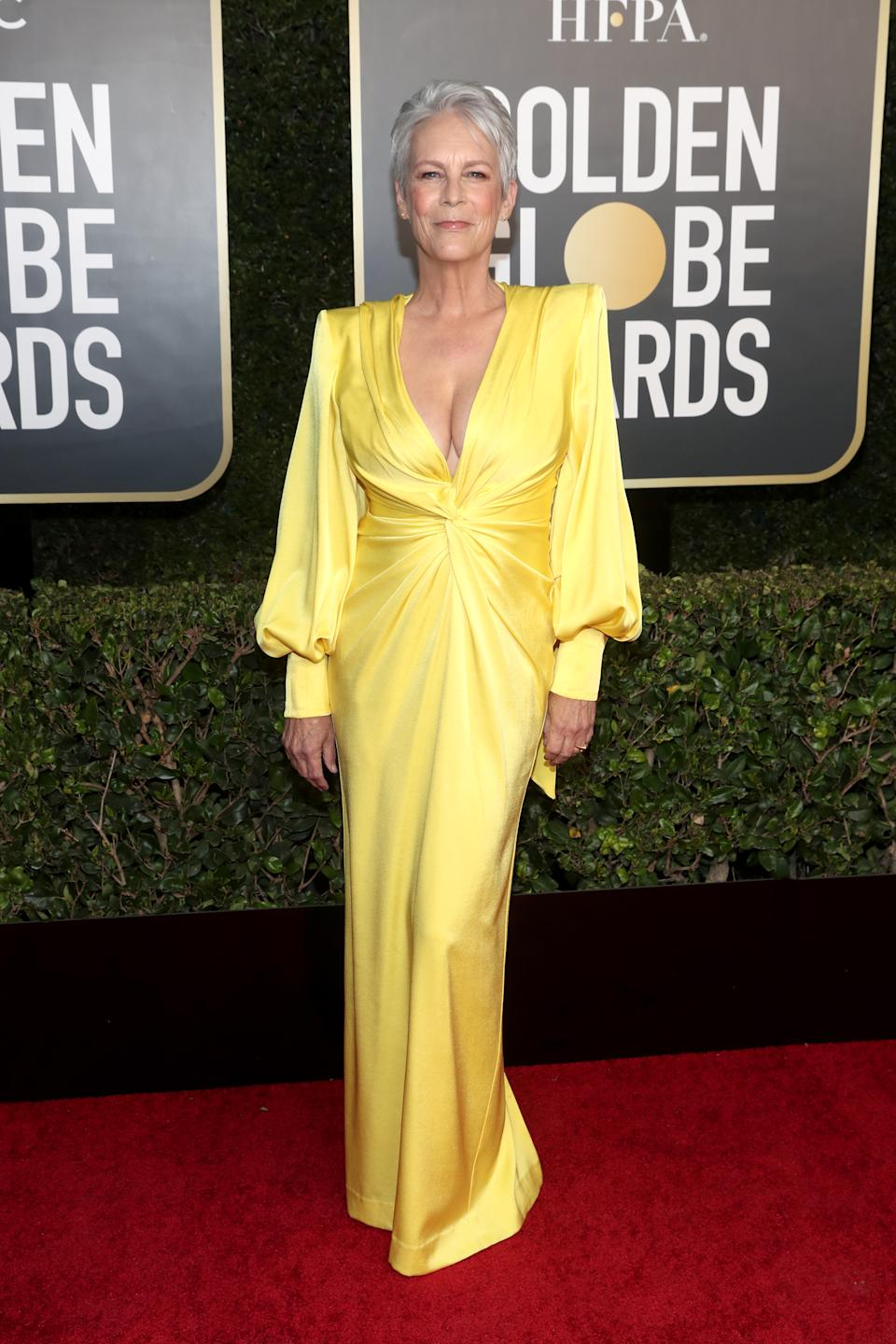 Jamie Lee Curtis attends the 78th Annual Golden Globe Awards held at The Beverly Hilton and broadcast on February 28, 2021 in Beverly Hills, California