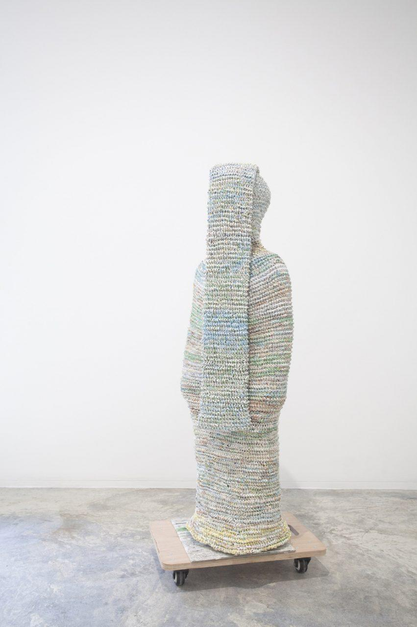 Movana Chen(b.1975) Body Container - Travel Maps, 2019 Knitted shredded maps 110 x 28 x 20 cm