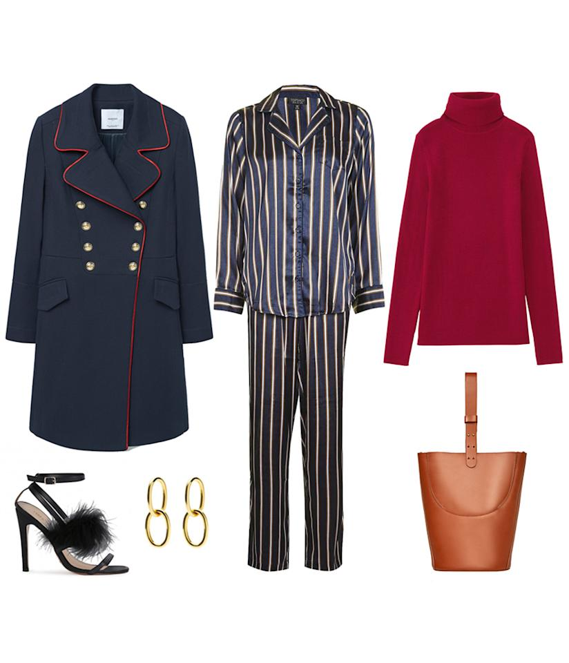 <p>Layer a turtleneck under your silk pajamas for warmth and a chic edge. Pair it with a military coat for a cool and tough contrast. Then add some heels to create an unexpected juxtaposition. </p>