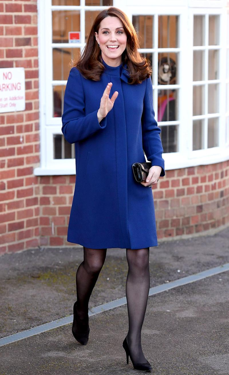 February 7: Back in London following the royal tour, and still living for blue.