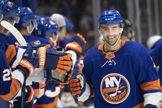 New York Islanders right wing Jordan Eberle (7) celebrates his third period goal against the Buffalo Sabres in an NHL hockey game, Saturday, Dec. 14, 2019 in Uniondale, N.Y. The Islanders won 3-2 in overtime. (AP Photo/Mark Lennihan)