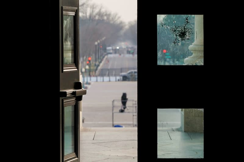 The East Door to the U.S. Capitol stands open as preparations continue for inauguration in Washington