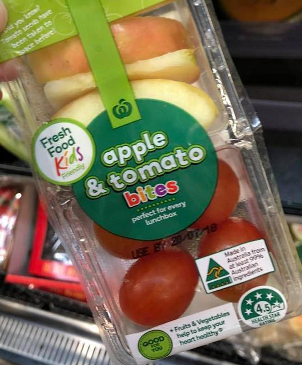 """One angry customer voiced her concerns over the """"unneccessary"""" packaging of the supermarket's fruit pack for kids. Source: Facebook/ Madie Porter"""