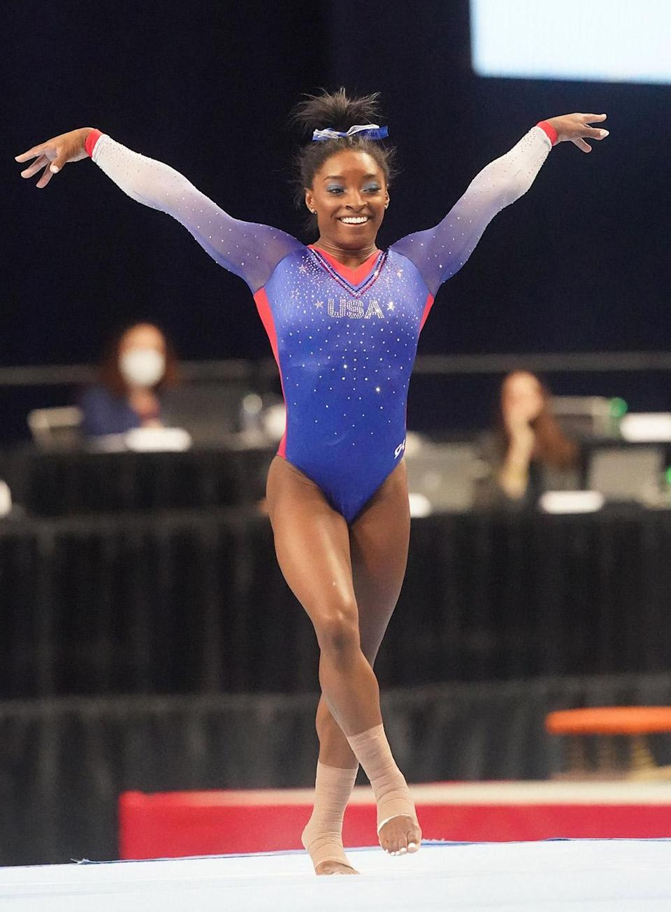 <p>Simone Biles nails her floor routine during Day 1 of the Women's U.S. Olympic Gymnastic Trials in St. Louis.</p>