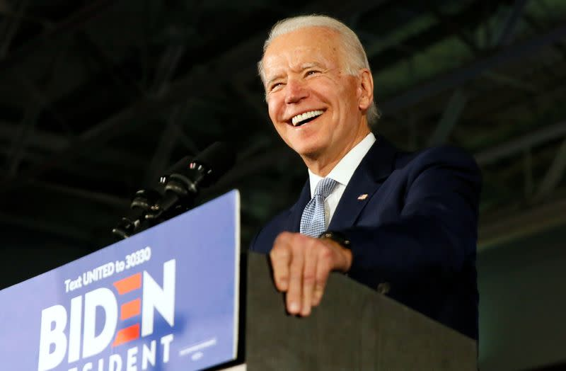 Democratic U.S. presidential candidate and former Vice President Biden speaks at his South Carolina primary night rally in Columbia
