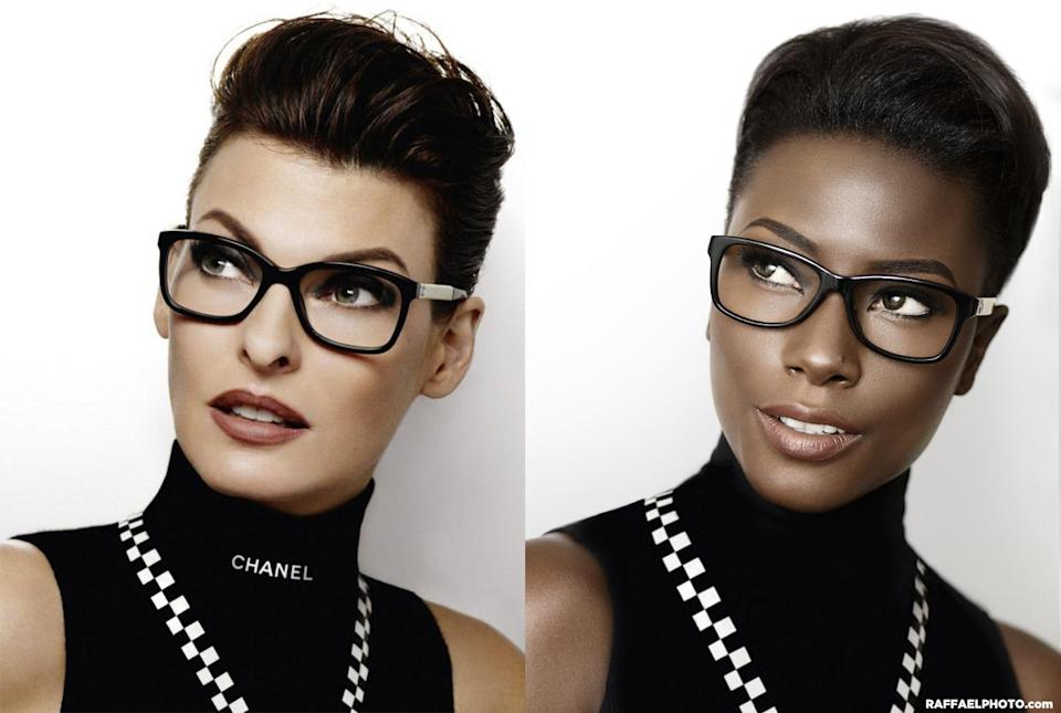 <p>Twinning with Linda Evangelista in a Chanel eyewear campaign. </p>