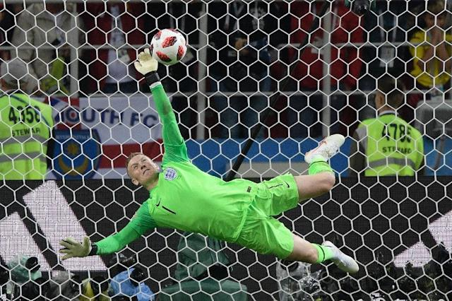 Jordan Pickford saved the penalty that paved the way for England to beat Colombia in a shootout (AFP Photo/Juan Mabromata)