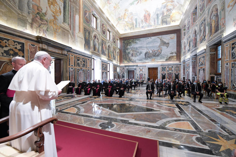 Pope Francis adresses doctors and nurses from the coronavirus-ravaged Lombardy region, at the Vatican, Saturday, June 20, 2020. Francis told the delegation on Saturday that their example of professional competence and compassion would help Italy forge a new future of solidarity. The northern region of Lombardy, Italy's financial and industrial capital, was the hardest-hit region in the onetime European epicenter of the pandemic. (Vatican News via AP)