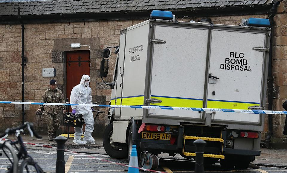 Bomb disposal experts at the University of Glasgow's mailroom last week (Picture: PA)
