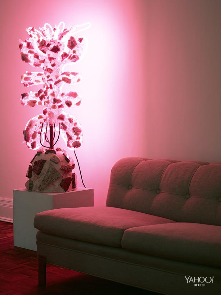 """<p>""""We have another lighting/sculpture piece in here by <a href=""""http://www.chriswolston.com/"""">Chris Wolston</a>.There's something about pink light that makes people happy.""""</p>"""