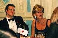 <p><em>Love and War</em> actor Chris O'Donnell hit the seating chart jackpot when he was seated next to Princess Diana at the London premiere. The two met previously in the receiving line, where O'Donnell showed off his clean-cut tuxedo. </p>