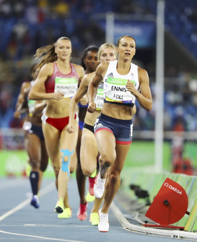 2016 Rio Olympics - Athletics - Women's Heptathlon 800m - Olympic Stadium - Rio de Janeiro, Brazil - 13/08/2016. Jessica Ennis-Hill (GBR) of Great Britain leads. REUTERS/Lucy Nicholson FOR EDITORIAL USE ONLY. NOT FOR SALE FOR MARKETING OR ADVERTISING CAMPAIGNS.