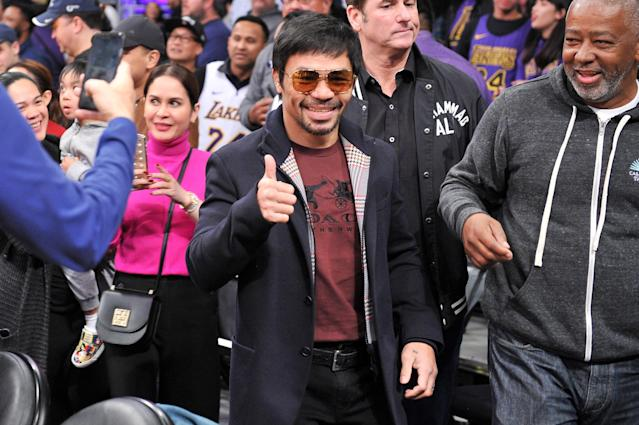 Manny Pacquiao attends a basketball game between the Los Angeles Lakers and the Golden State Warriors at Staples Center on Jan. 21, 2019 in Los Angeles. (Allen Berezovsky/Getty Images)