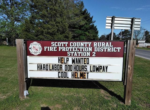 The Scott County Rural Fire Protection District had a tongue-in-cheek way of drawing potential recruit's attention. (Photo: Facebook)